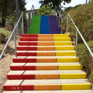 Photo of rainbow stairs at Penngrove Elementary