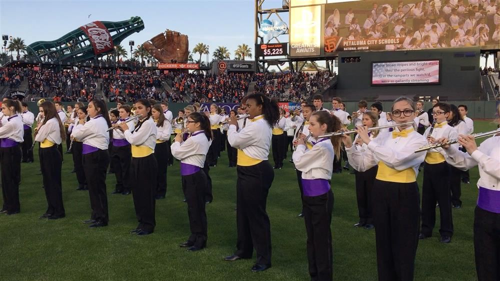 Band students performing at Giants game