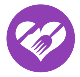 Logo: a heart with a fork and spoon inside.