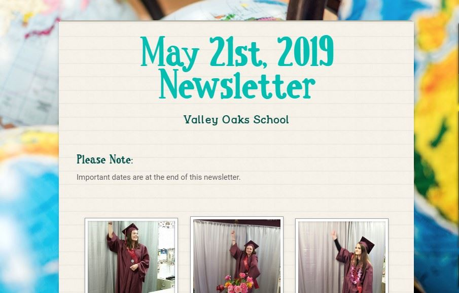 screen shot of top of May newsletter
