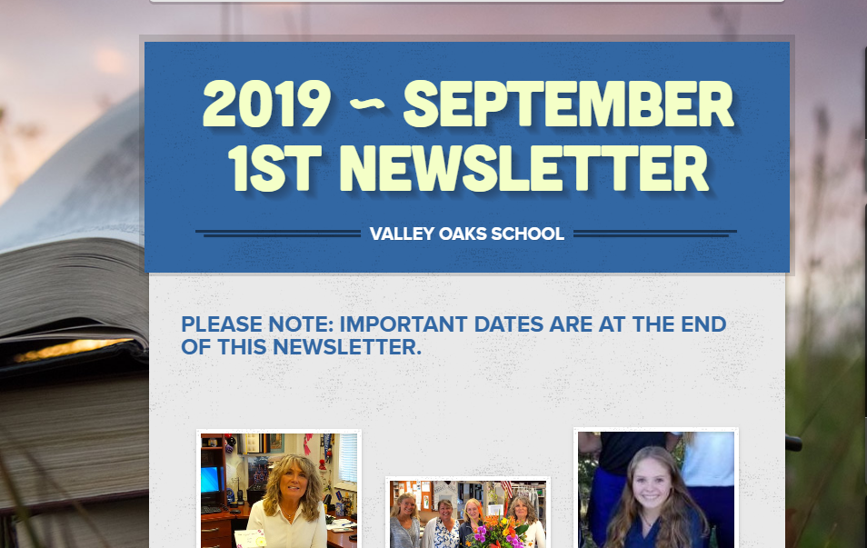 screenshot of top of 9/1/19 newsletter