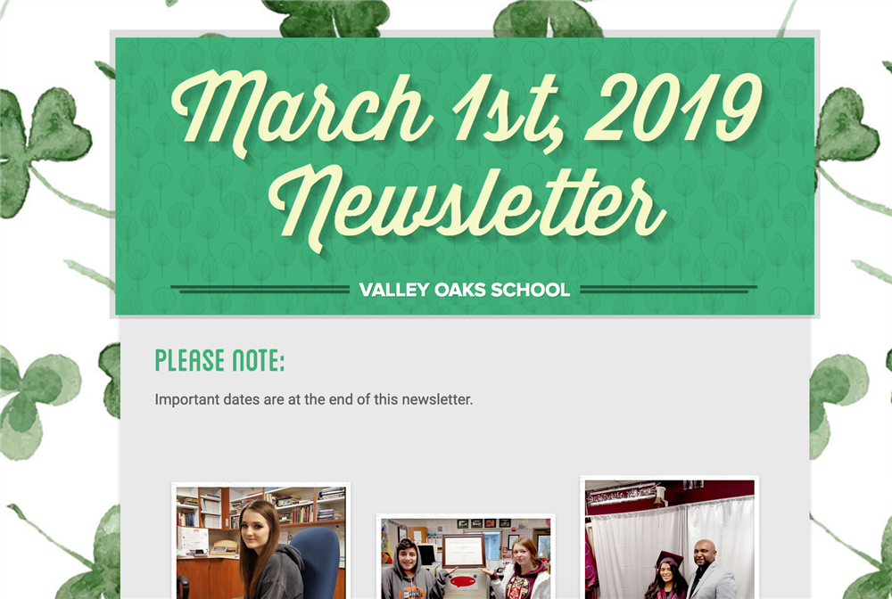 screenshot of top of 3/1/19 newsletter