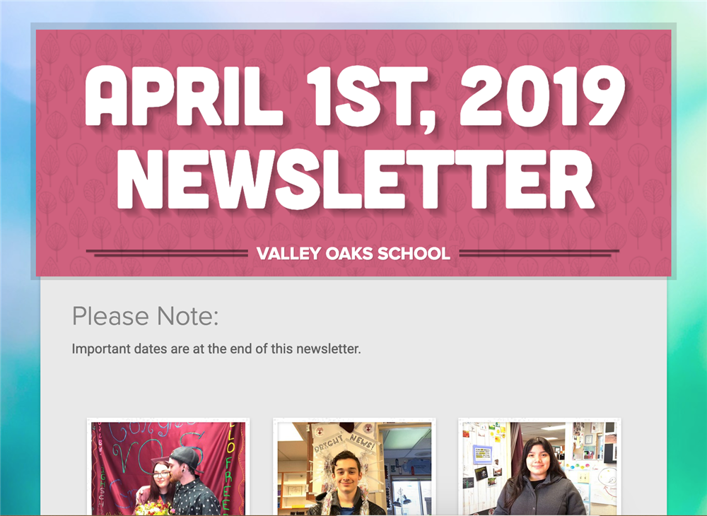 screenshot of the top of the April 1st, 2019 newsletter