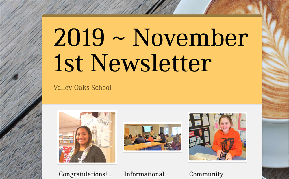 screenshot of top of 2019 Nov. 1st newsletter