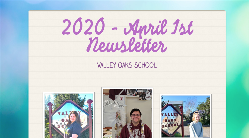 screenshot of top of April 1st newsletter
