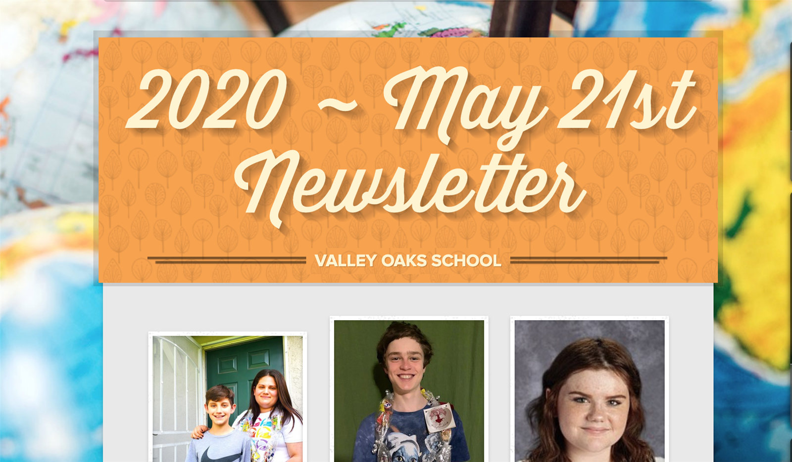 screenshot of top of May 21st newsletter