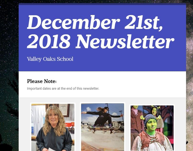 screenshot of December 2018 newsletter