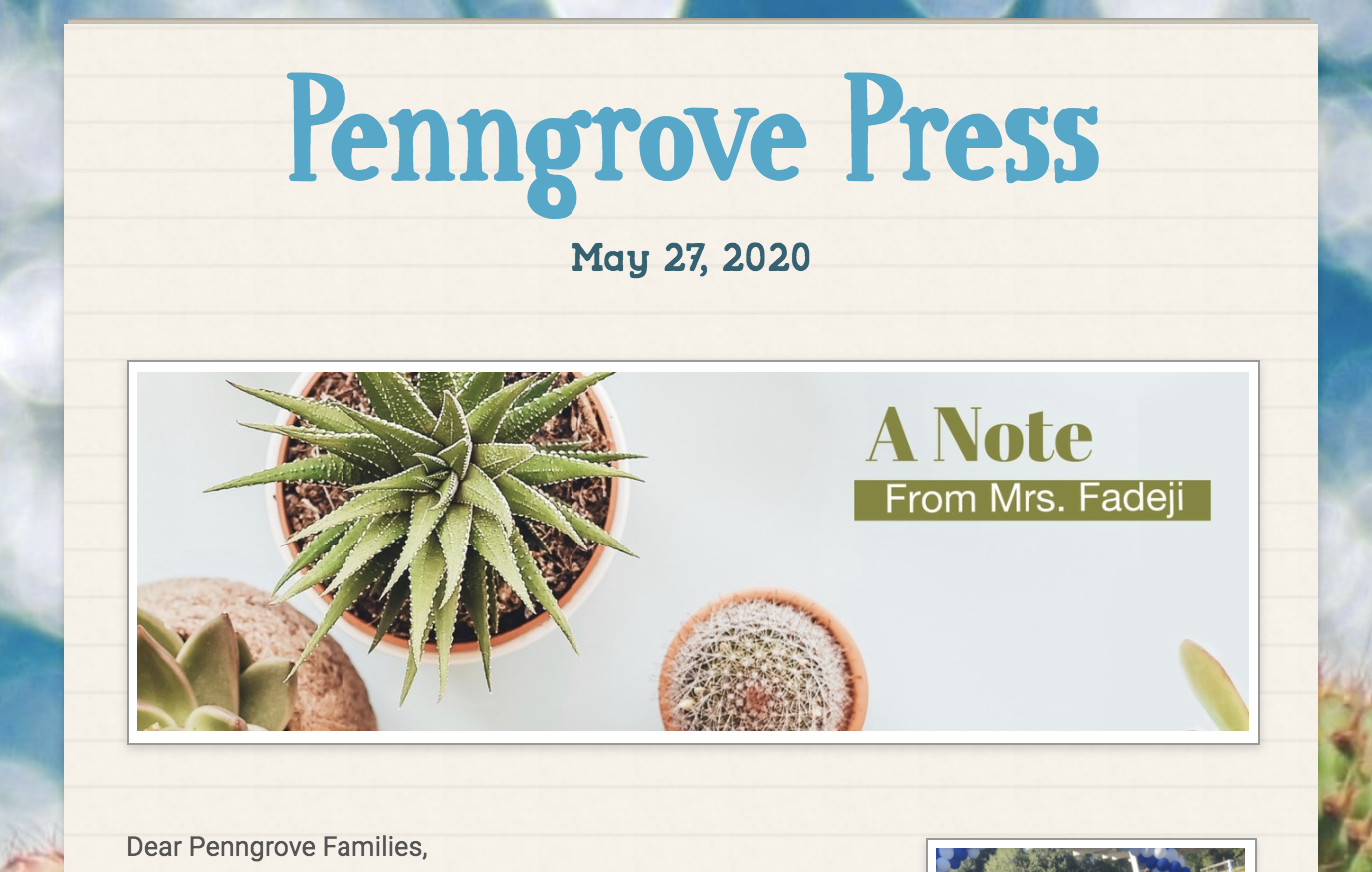 May 27, 2020 Newsletter