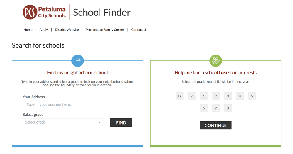 Screenshot of PCS SchoolFinder website homepage