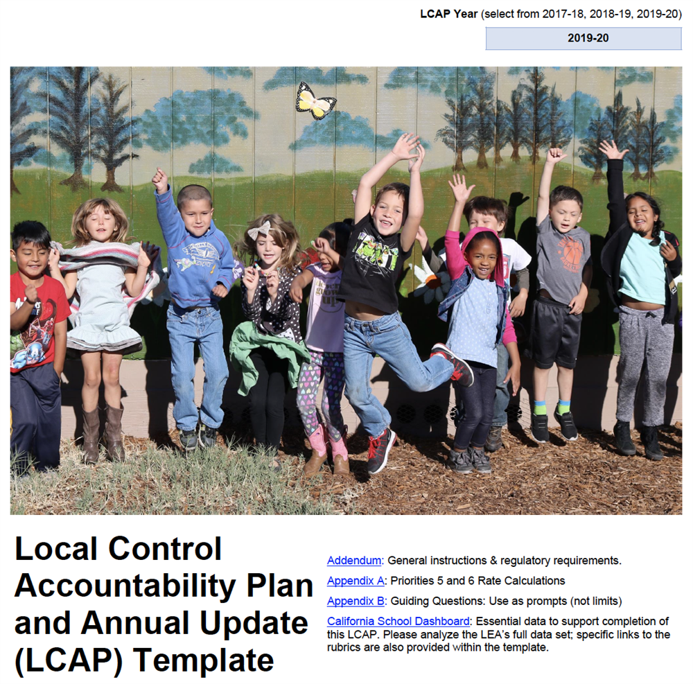 Screenshot of the cover page of the 2019-2020 Petaluma City Schools Local Control Accountability Plan