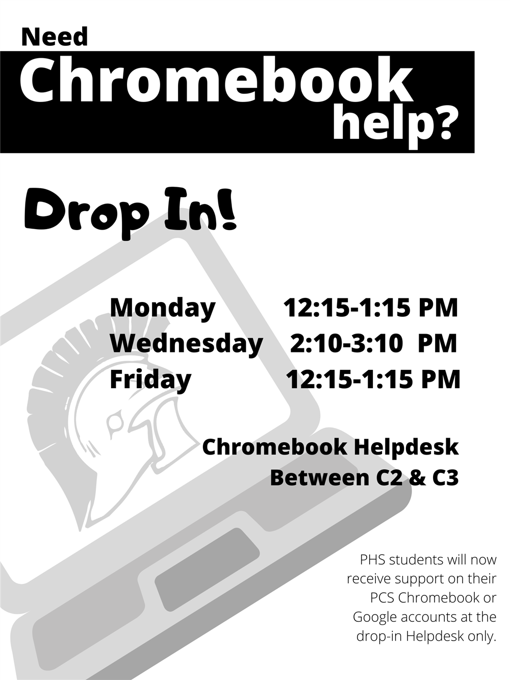 PHS Chromebook Helpdesk Flyer
