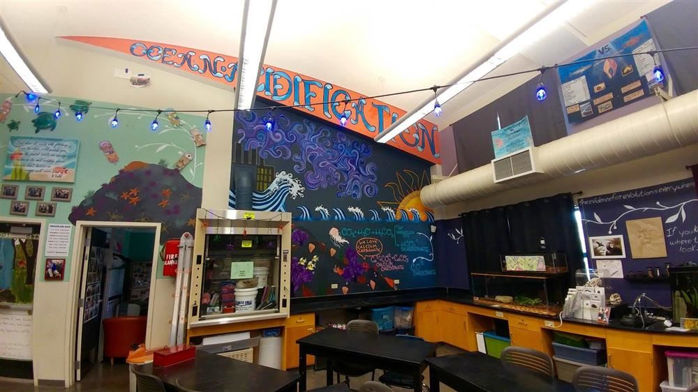 Mural in Marine Science classroom